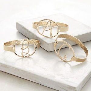 Gold Monogram Script Cuff Bracelet  T H F